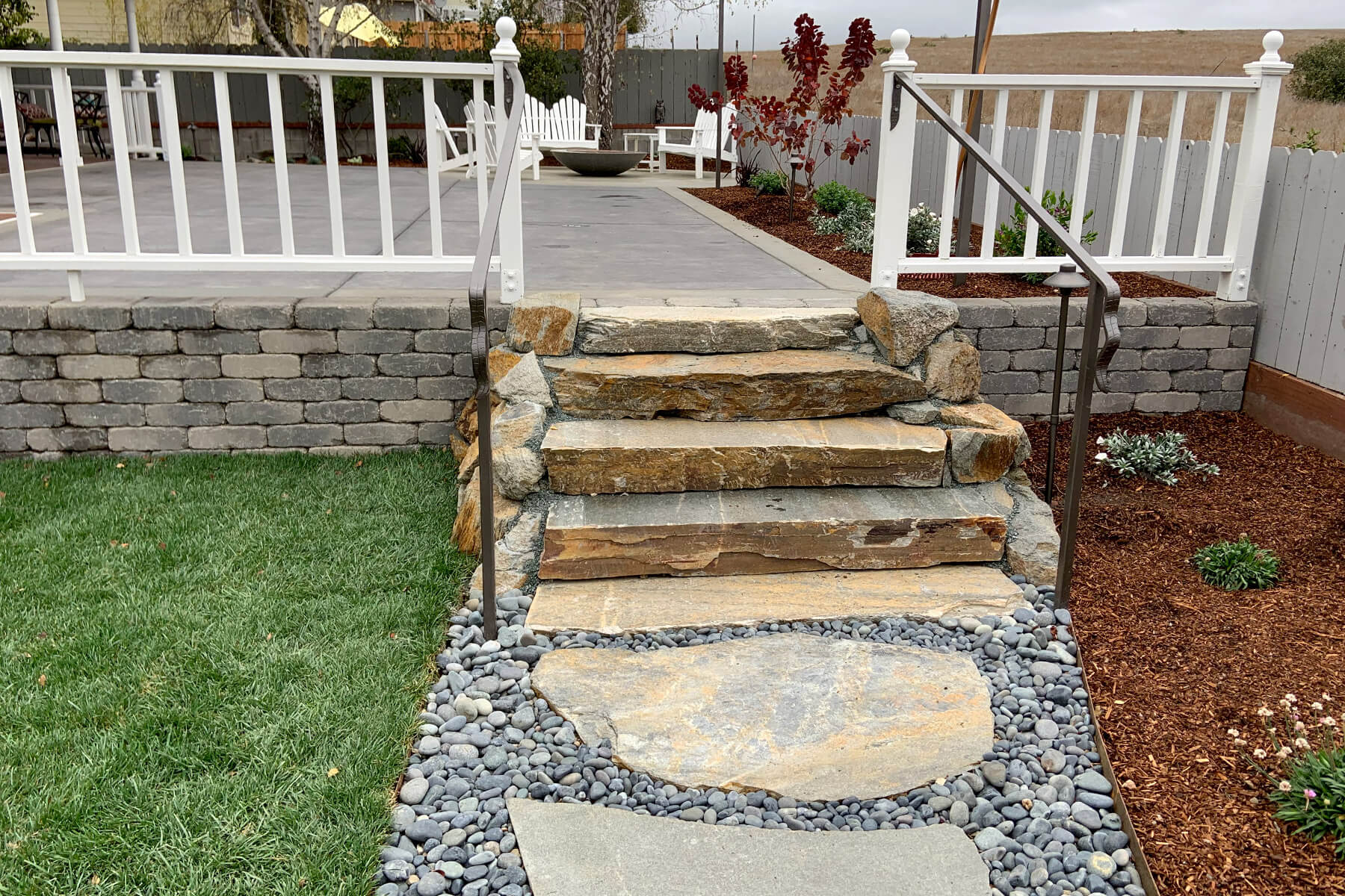 stone and gravel pathway and stairs